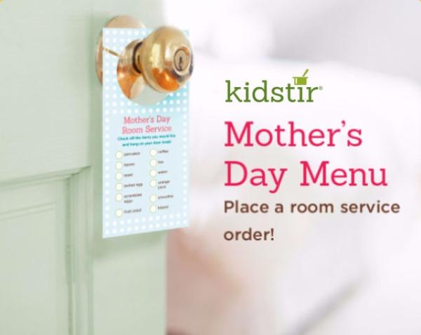 Kidstir Mom's Door Hanger Room Service Menu
