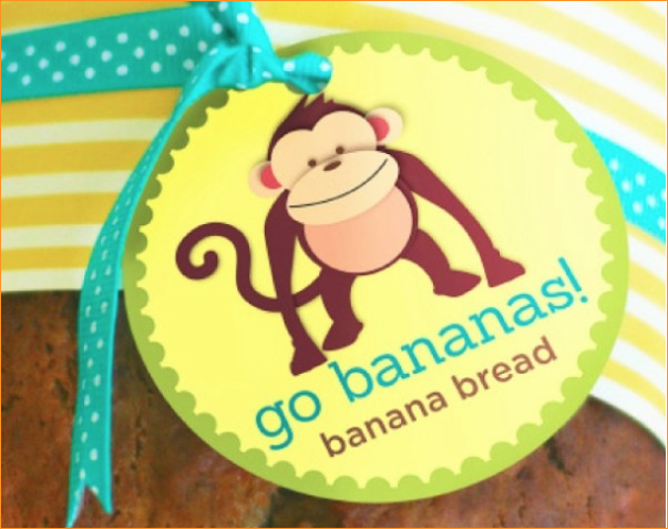 go bananas banana bread gift tags