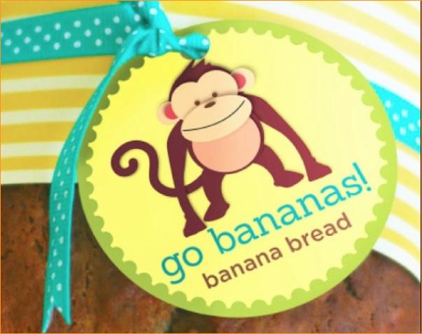 go bananas banana bread gift tags