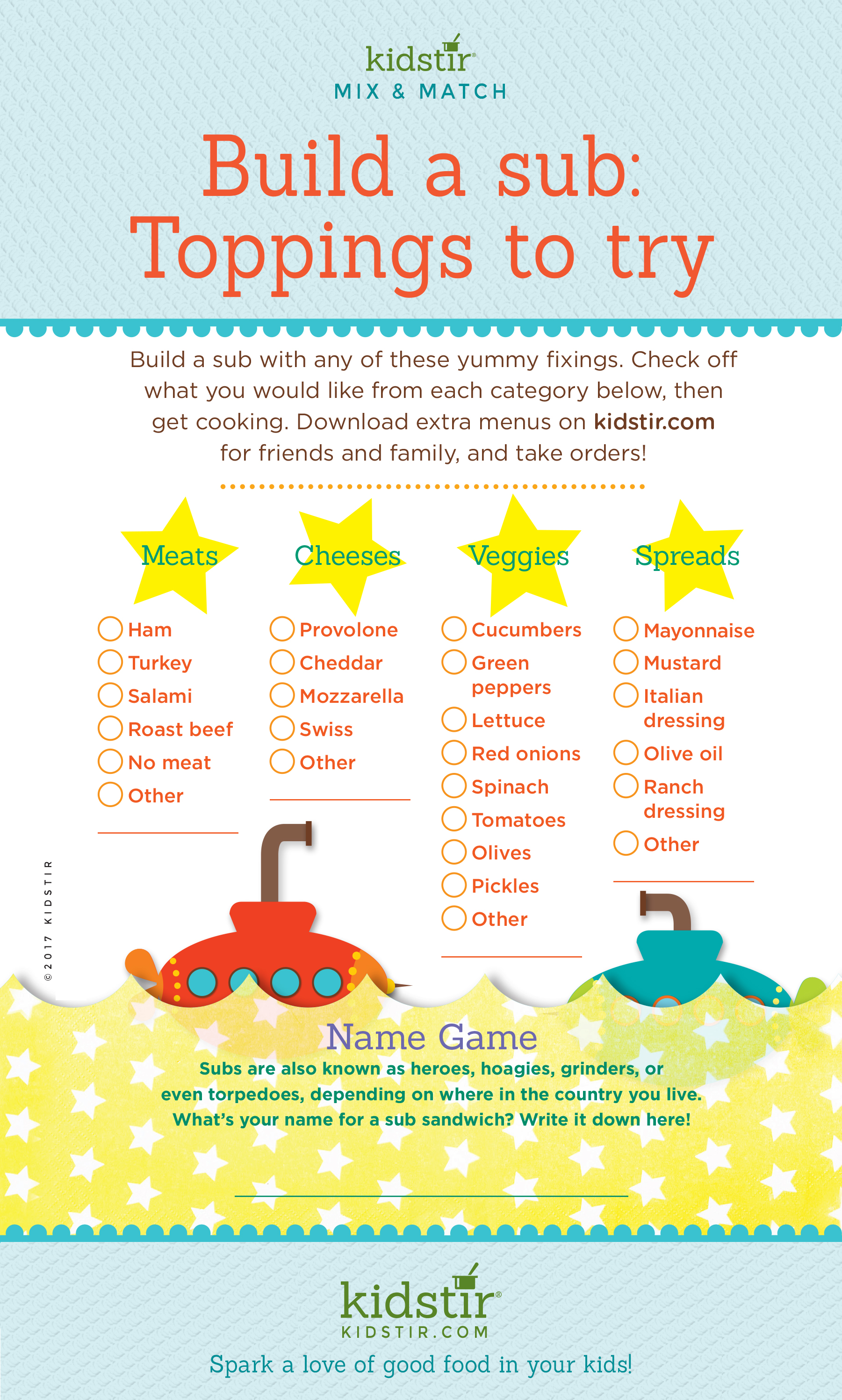 Kids Submarine Sandwich menu